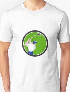 Golfer Swinging Club Circle Cartoon T-Shirt