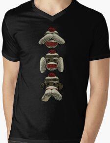 Three Wise Sock Monkeys Mens V-Neck T-Shirt