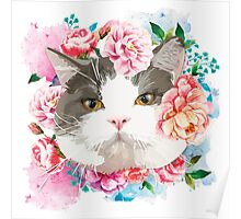 Cat with Flower Poster