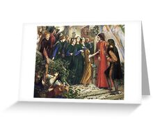 Dante Gabriel Rossetti - Beatrice, Meeting Dante at a Wedding Feast, Denies him her Salutation  Greeting Card