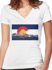 Pikes Peak Colorado Flag Women's Fitted V-Neck T-Shirt