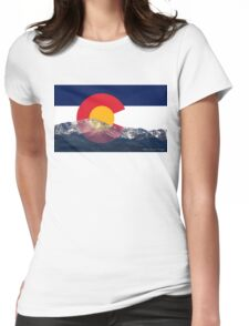 Pikes Peak Colorado Flag Womens Fitted T-Shirt