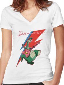 denver the last dinosaur Women's Fitted V-Neck T-Shirt