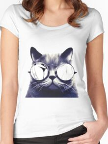 Vintage Cat Wearing Glasses Women's Fitted Scoop T-Shirt