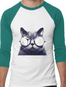 Vintage Cat Wearing Glasses Men's Baseball ¾ T-Shirt