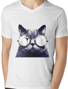 Vintage Cat Wearing Glasses Mens V-Neck T-Shirt