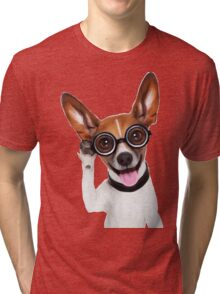 Dog Wearing Glasses 1 Tri-blend T-Shirt