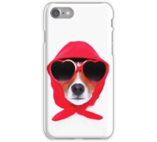 Dog Wearing Heart Red Glasses & Red Veil iPhone Case/Skin