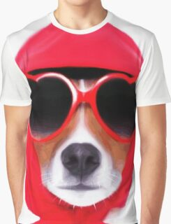 Dog Wearing Heart Red Glasses & Red Veil Graphic T-Shirt