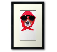 Dog Wearing Heart Red Glasses & Red Veil Framed Print
