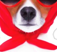 Dog Wearing Heart Red Glasses & Red Veil Sticker
