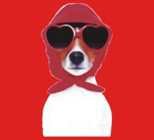 Dog Wearing Heart Red Glasses & Red Veil One Piece - Short Sleeve