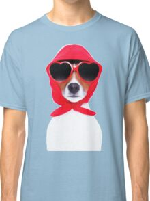 Dog Wearing Heart Red Glasses & Red Veil Classic T-Shirt