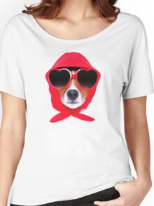 Dog Wearing Heart Red Glasses & Red Veil Women's Relaxed Fit T-Shirt