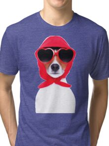 Dog Wearing Heart Red Glasses & Red Veil Tri-blend T-Shirt