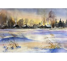 Winter Evening in the Village Photographic Print