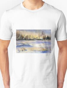 Winter Evening in the Village Unisex T-Shirt