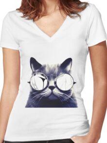 Vintage Cat Wearing Glasses Women's Fitted V-Neck T-Shirt