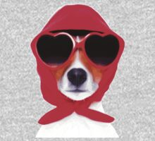 Dog Wearing Heart Red Glasses & Red Veil One Piece - Long Sleeve