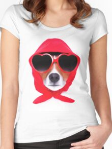 Dog Wearing Heart Red Glasses & Red Veil Women's Fitted Scoop T-Shirt