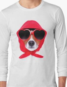 Dog Wearing Heart Red Glasses & Red Veil Long Sleeve T-Shirt