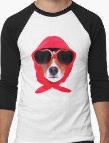 Dog Wearing Heart Red Glasses & Red Veil Men's Baseball ¾ T-Shirt