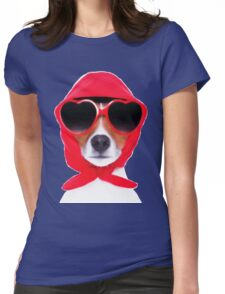 Dog Wearing Heart Red Glasses & Red Veil Womens Fitted T-Shirt