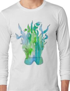 Psychedelic underwater snorkelling mask landscape Long Sleeve T-Shirt