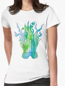 Psychedelic underwater snorkelling mask landscape Womens Fitted T-Shirt