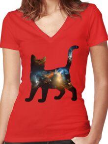 CELESTIAL CAT 3 Women's Fitted V-Neck T-Shirt