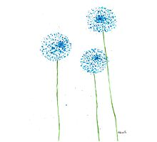 Blue flowers watercolor Photographic Print