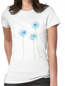 Blue flowers watercolor Womens Fitted T-Shirt
