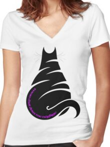 MY CAT NEGLECTS ME Women's Fitted V-Neck T-Shirt