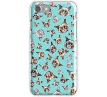 Cats in Turquoise Blue iPhone Case/Skin