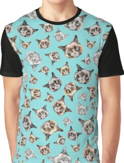 Cats in Turquoise Blue Graphic T-Shirt