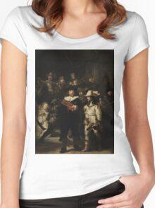 Rembrandt Harmensz van Rijn - The Night Watch  Women's Fitted Scoop T-Shirt