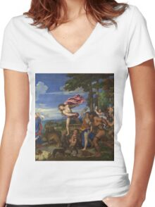 Tiziano Vecellio, Titian - Bacchus and Ariadne  Women's Fitted V-Neck T-Shirt