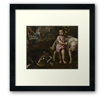 Tiziano Vecellio, Titian - Boy with Dogs in a Landscape Framed Print