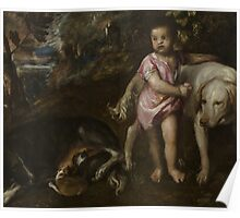 Tiziano Vecellio, Titian - Boy with Dogs in a Landscape 1565 - 1576 Poster