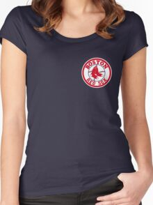 Boston Red Sox Logo Baseball Women's Fitted Scoop T-Shirt