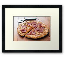 Pepperoni Pizza on a Wooden Board Framed Print