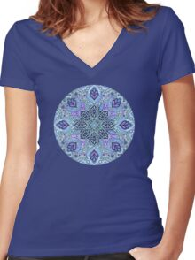 Navy Blue, Mint and Purple Boho Pattern Women's Fitted V-Neck T-Shirt