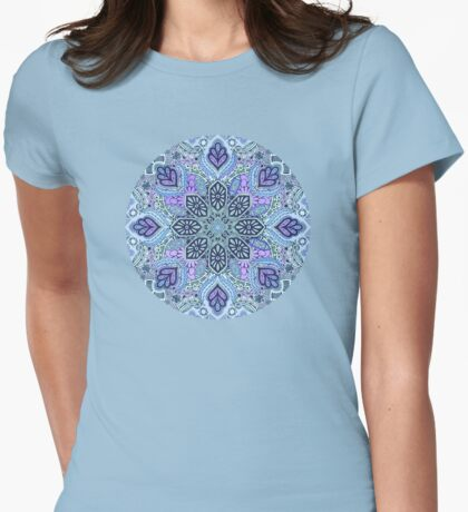 Navy Blue, Mint and Purple Boho Pattern Womens Fitted T-Shirt