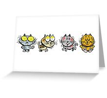 Cartoon design of four happy cats Greeting Card