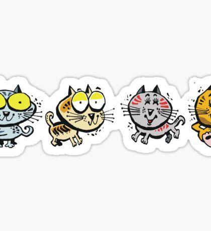 Cartoon design of four happy cats Sticker