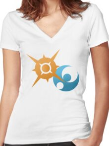 Sun And Moon Women's Fitted V-Neck T-Shirt