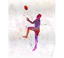 Rugby man player 01 in watercolor Poster