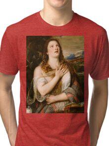 Tiziano Vecellio, Titian - The Penitent Magdalene  Tri-blend T-Shirt