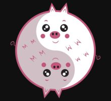 Cute pigs yin yang  One Piece - Short Sleeve