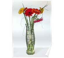 Gerberas in vase on a white background Poster